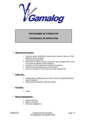 programme de formation techniques de marketing - GamaLog