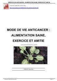 mode de vie anticancer : alimentation saine, exercice et ... - Amessi