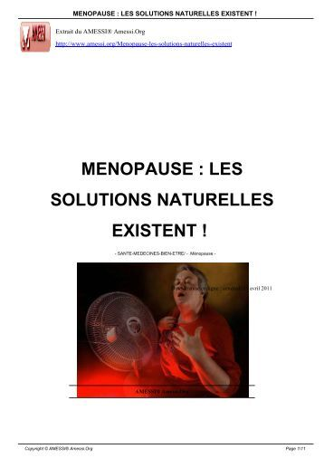 MENOPAUSE : LES SOLUTIONS NATURELLES EXISTENT ! - Amessi