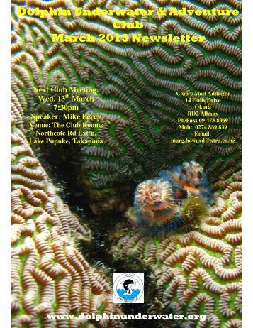 Dolphin Underwater & Adventure Club March 2013 Newsletter