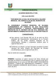 CONCEJO MUNICIPAL - Sitio web del municipio Silvania en ...