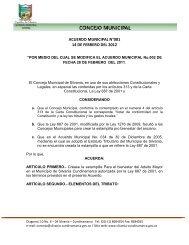 ACUERDO MUNICIPAL N°001 14 DE FEBRERO DEL 2012 - Silvania