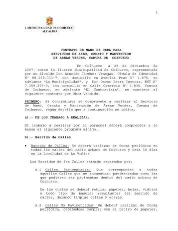 CONTRATO ASEO 2008 - 2010 - I. Municipalidad de Coihueco