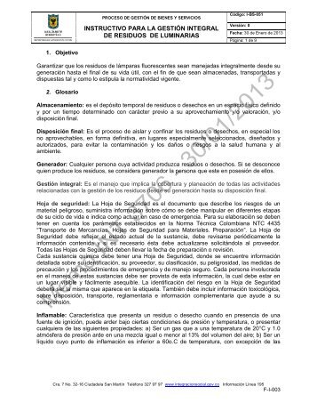 INSTRUCTIVO PARA LA GESTIÓN INTEGRAL ... - Página principal