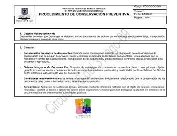 procedimiento de conservación preventiva - Página principal