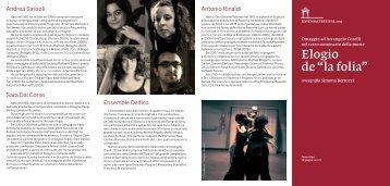 """PDF Programma Elogio de """"la folia"""" - Ravenna Festival"""