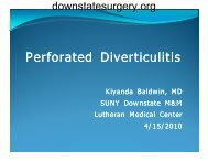 Perforated Diverticulitis - Department of Surgery at SUNY Downstate ...