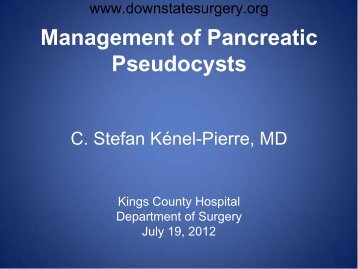 Management of Pancreatic Pseudocysts - Department of Surgery at ...