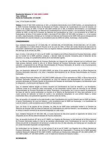 Resolución Número: N° 286-2005-J/ONPE Tipo: Jefatural Fecha de ...