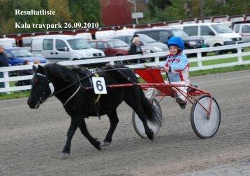 Resultatliste Kala travpark 26.09.2010