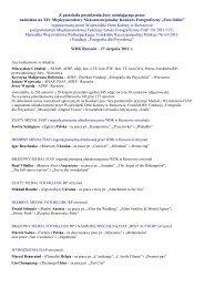 Informacja z Protokolu posiedzenia Jury Konkursu Foto Odlot 2011