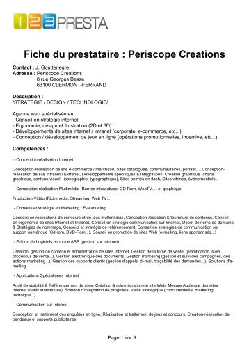 Fiche du prestataire Periscope Creations - LMI Market