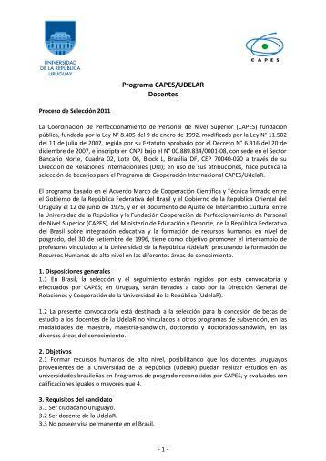Programa CAPES/UDELAR Docentes - Relaciones y Cooperación