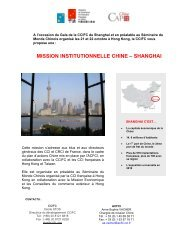MISSION INSTITUTIONNELLE CHINE – SHANGHAI - ccifc