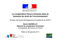 La coopération franco-chinoise dans le domaine du droit de l ... - ccifc