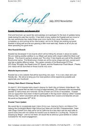 Koastal Newsletter July/August 2010 First and foremost, we would ...