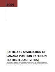opticians association of canada position paper on restricted activities