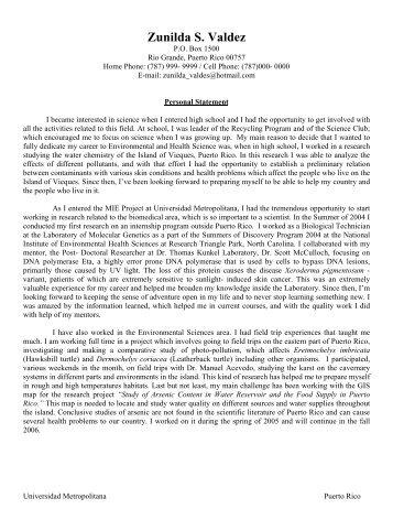 PERSONAL STATEMENT Sample #2 - risd/careers