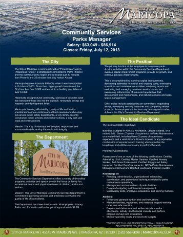 Community Services - Arizona Parks and Recreation Association