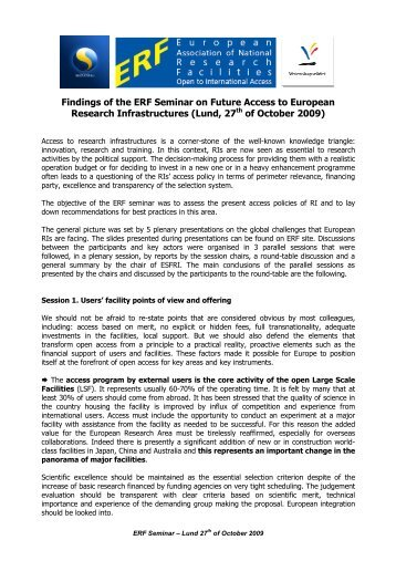 Findings of the ERF Seminar on Future Access to European ...