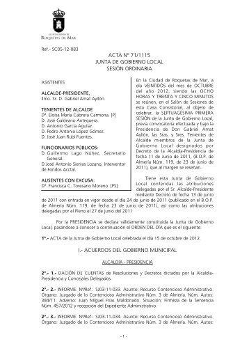 acta nº 71/1115 junta de gobierno local sesión ordinaria i.- acuerdos ...