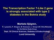 TCF7L2 and T2D - Lund University Diabetes Centre
