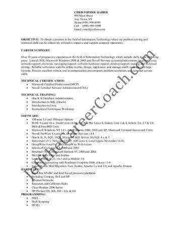 linux administrator resume