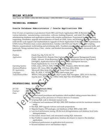 download the DBA Resume Sample Three in PDF.