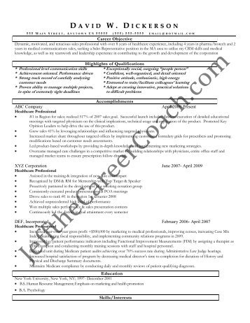 download the Healthcare Professional Resume Sample Three in PDF.