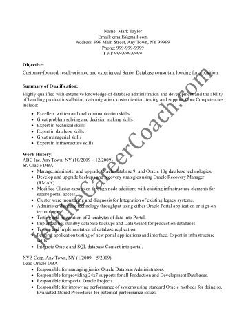 download the Oracle Developer Resume Sample One in PDF.
