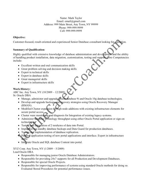 Download The Oracle Developer Resume Sample One In PDF
