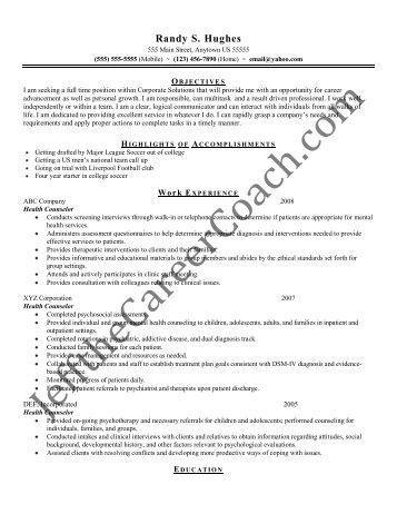 download the Health Counselor Resume Sample Three in PDF.