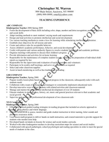 sample kindergarten teacher resume kindergarten teacher resume