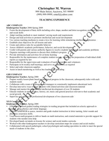 download the Kindergarten Teacher Resume Sample One in PDF.