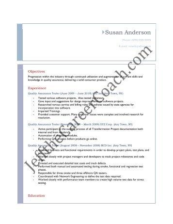 Qa Tester Resume Samples | Resume Samples and Resume Help
