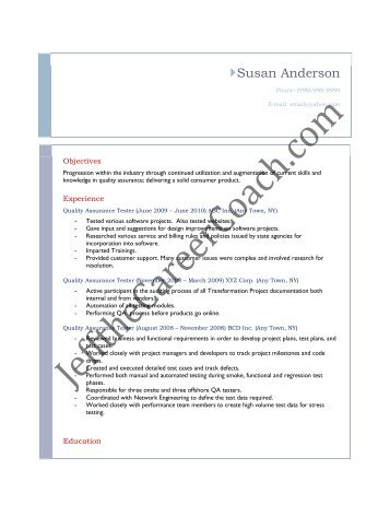 download the QA Tester Resume Sample Three in PDF.