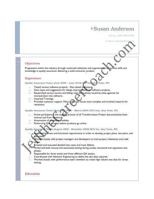 Download The Qa Tester Resume Sample Three In Pdf