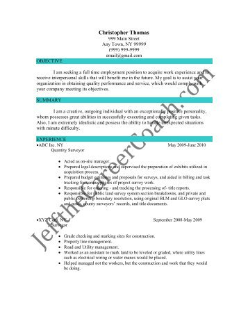 Download The Quantity Surveyor Resume Sample Two In Pdf