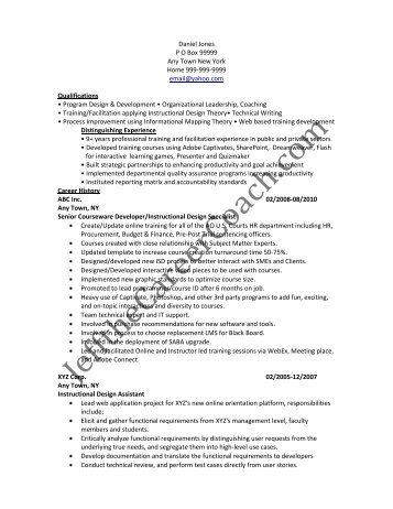 download the Instructional Design Resume Sample Two in PDF.
