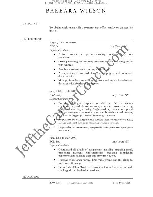 download the Logistics Coordinator Resume Sample One in PDF