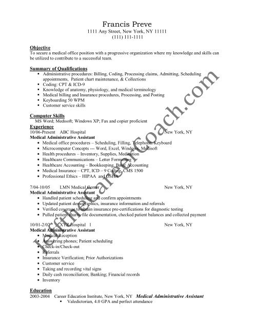Download The Medical Administrative Assistant Resume Sample