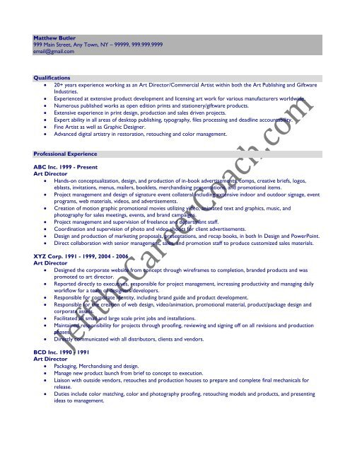Download The Art Director Resume Sample Three In Pdf