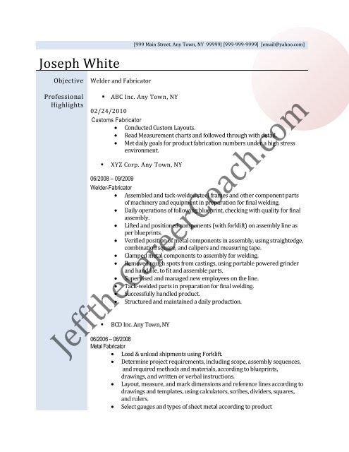Download The Fabricator Resume Sample Three In PDF