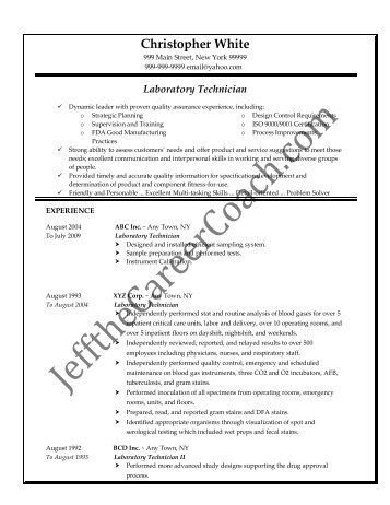 laboratory technician resume samples
