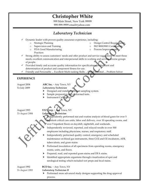 Download The Laboratory Technician Resume Sample One In Pdf