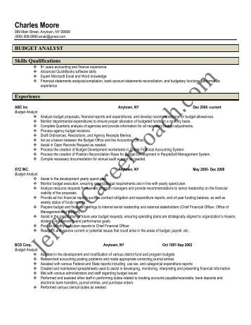 cover letter budget analyst resume federal government budget ...