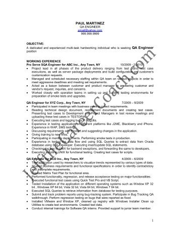 download the Quality Assurance Engineer Resume Sample One in ...