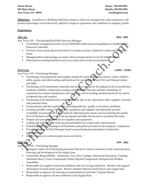 Purchasing Resume   Download The Purchasing Manager Resume Sample Three In Pdf