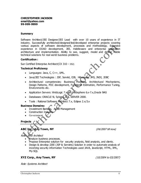 J2ee architect resume calgary resume for workers technical assistant