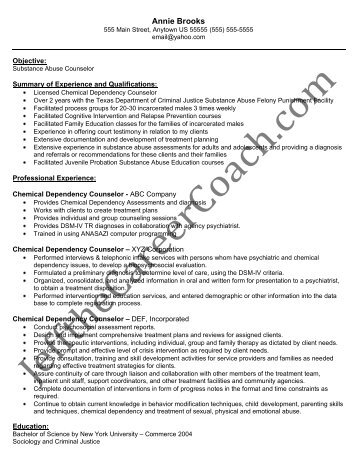 download the Chemical Dependency Counselor Resume Sample ...